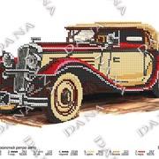Схема- заготовка для вышивки бисером Красно -золотой ретро авто фото