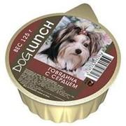 Dog Lunch 125г конс. Влажный корм для взрослых собак Крем-суфле Говядина с сердцем фото