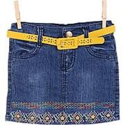 Оригинальная джинсовая юбка с узором 5 фото