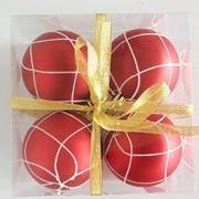 """Набор елочных шаров """"Кружевная зима"""", 4 шт, 8 см, красные матов., (MILAND) фото"""