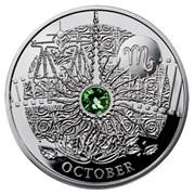 Октябрь. Серебряная монета в футляре, с кристаллом Swarovski фото