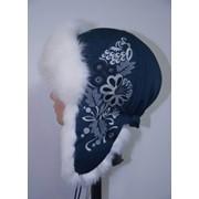 Шапка-ушанка с натуральным мехом (14-04, синий-белый, вышивка) фото