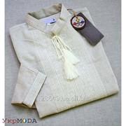 Комфортная льняная рубашка для мужчин с однотонной вышивкой (Б-21) фото