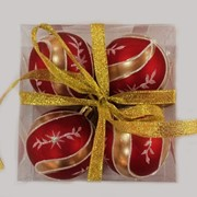 """Набор елочных шаров """"Новогодние узоры"""", 4 шт, 6 см, красные матов., (MILAND) фото"""