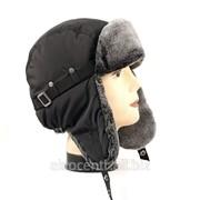 Мужская шапка ушанка Чёрно-матового цвета, мех Мутон фото