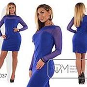 Модное женское платье электрик с гипюром (3 цвета) VV/-034 фото