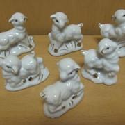 Набор овечек 5 шт.-фарфоровые с золотом- гжель, арт. 1283Е фото