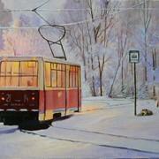 Картина живописная Зимний трамвай фото