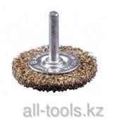 Щетка Зубр Эксперт дисковая для дрели 2-рядная, витая латунированная стальная проволока 0,3мм, 75мм Код:3520-075-2_z01 фото