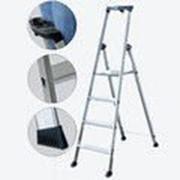 Односторонняя стремянка 5 ступеней с площадкой для инструментов с крюками для ведра Solido KRAUSE фото