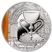 Священный Грааль Серебряная монета с агатом фото