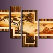 Горы и пустыня (модульная интерьерная объемная картина маслом на холсте на заказ) фото