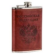 Оригинальная фляжка в коже с оттиском герба РФ фото
