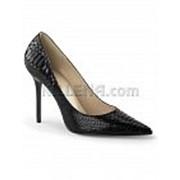 Черные кожаные туфли со змеиной текстурой CLASSIQUE-20SP фото