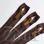 Молния пластиковая, коричневая, бегунок №73 - 25см фото
