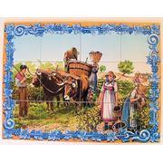 Керамическое панно мулы на виноградном поле-mosdec-12 фото