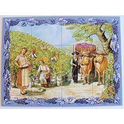 Керамическое панно женщины собирают виноград-mosdec-13 фото