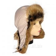 Женская шапка ушанка бежевого цвета, мех Лиса фото