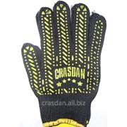 Перчатки рабочие трик. из х/б пряжи с жёлтой звездой ПВХ Арт. 562 фото
