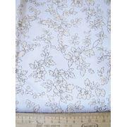 Белая ткань с бежевыми цветами фото