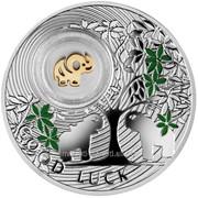 Слоник - Символ удачи. Серебряная монета в футляре фото