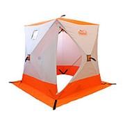 Палатка зимняя куб Следопыт 3-местная, бело-оранжевая фото