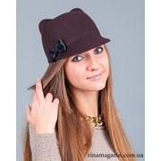 Шляпка с ушками и бантиком (коричневая) фото