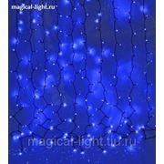 Световой дождь чёрный провод 2*1,5 м LED-D-400л-240V с контролл 8 режимов синий фото