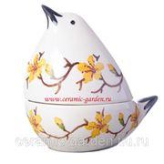Ваза конфетница птица с жёлтыми цветами фото