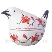 Ваза конфетница птица красные цветы фото