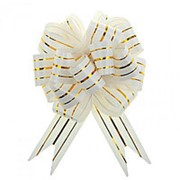 Бант-шар 30 мм., (3 золотых полоски) 1 шт., цвет в ассортименте. фото