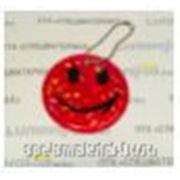 """Брелок """"SMILE"""" светоотражающий """"мягкий пластик"""" (PVC), всепогодный, цвет: вишнево-красный, D=6 сm (+крепление) фото"""