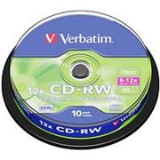 Компакт диск CD-RW 700мБ Verbatim*8-12 в тубе 10шт. перезаписываемый фото