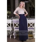 Платья вечерние Платье в пол 422/ЛР / верх Бежевый / юбка темно-синяя фото