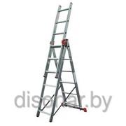 Универсальная алюминиевая трехсекционная лестница 3х6 ступеней Tribilo KRAUSE 120595 фото