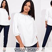 Брючный костюм с белой блузкой АК/-739 - Темно-синий фото