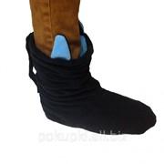 Тапочки Чертики черные с голубыми рожками фото