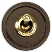 Двухклавишный выключатель золото/коричневый фото