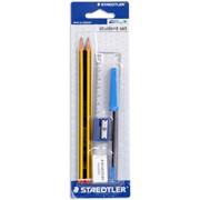 Hабор карандашей чернографитовых Staedtler Noris 2 штуки, ластик, точилка, ручка, линейка, блистер 6 предметов фото