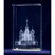Объёмная лазерная гравировка в стекле (кристалле) - Параллелепипед-«подсвечник» 50х50х80 фото