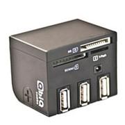 Считыватель карт памяти картридер usb 2.0 хаб QbiQ CR015 Combo CF, XD, TF-microSD, SD-MMC, MS, HUB 3 USB Af фото