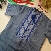 Мужская вышиванка Твори мир (лен джинс) 46, джинс фото