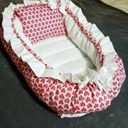 Гнездо-кокон для новорожденных на заказ Розовые сердечки фото