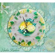 МК по росписи ONE STROKE & ВИТРАЖ Надежды Киселевой - Кухонные стеклянные часы «ЛИМОН» фото