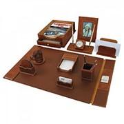 Набор galant настольный из кожи, 9 предметов, коричневая кожа, двойной лоток, часы, 231190 фото