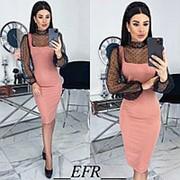 Комбинированное платье женское (5 цветов) ЕФ/-499 - Розовый фото