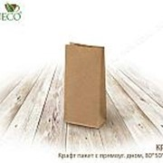 Крафт пакет с пр. дн., 80*50*170 мм,600шт(бумага, плотность бумаги:70 г/м) - бумажные крафт пакеты фото