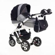 Детская универсальная коляска 2 в 1 Adamex Barletta серо-черный фото