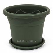 """Горшок пластиковый """"Клематис"""" с подставкой 18 зелёный фото"""