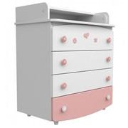 Комод-пеленатор (апликация бело-розовая) фото